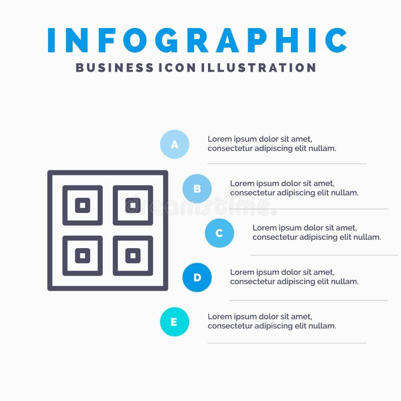 Przyjeżdżający, pudełka, dostawa, Logistycznie, wysyłki linii ikona z 5 kroków prezentacji infographics tłem ilustracji