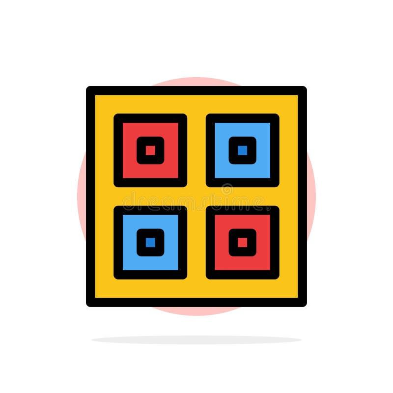Przyjeżdżający, pudełka, dostawa Wysyła Abstrakcjonistycznego okręgu tła koloru Płaską ikonę, Logistycznie, ilustracja wektor