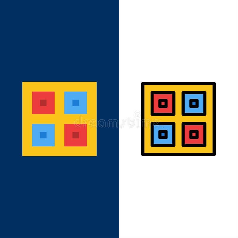 Przyjeżdżający, pudełka, dostawa Wysyła ikony, Logistycznie, Mieszkanie i linia Wypełniający ikony Ustalony Wektorowy Błękitny tł ilustracja wektor