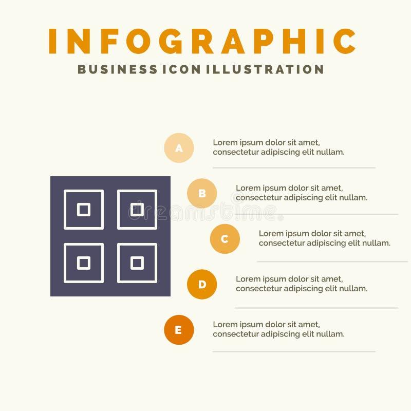 Przyjeżdżający, pudełka, dostawa Wysyła Stałego ikony Infographics 5 kroków prezentacji tło, Logistycznie, ilustracja wektor