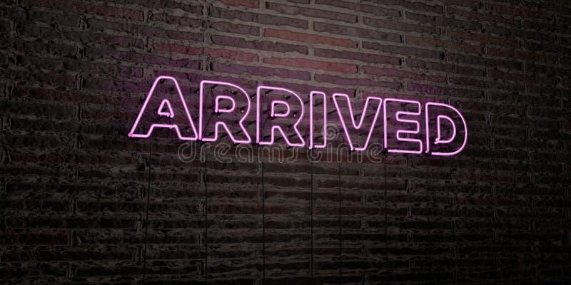 PRZYJEŻDŻAJĄCY - Realistyczny Neonowy znak na ściana z cegieł tle - 3D odpłacający się królewskość bezpłatny akcyjny wizerunek ilustracji