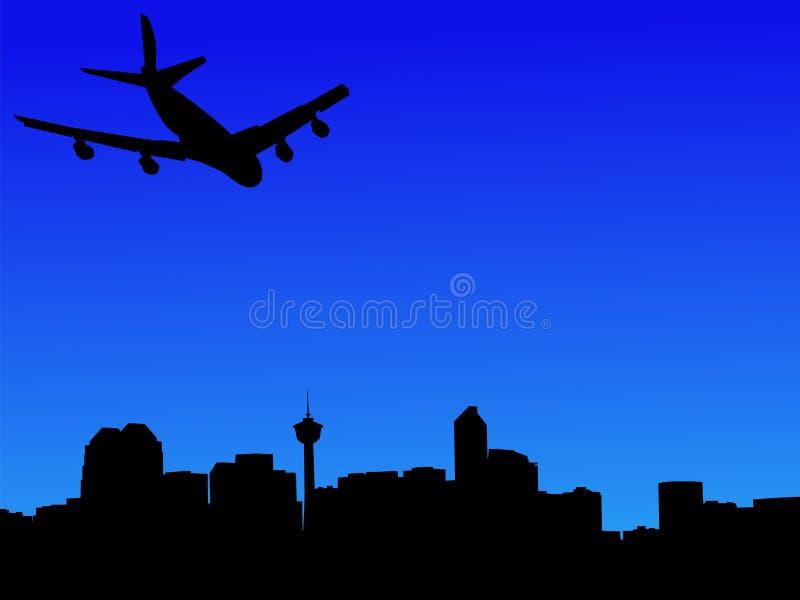 przyjechał Calgary samolot ilustracja wektor