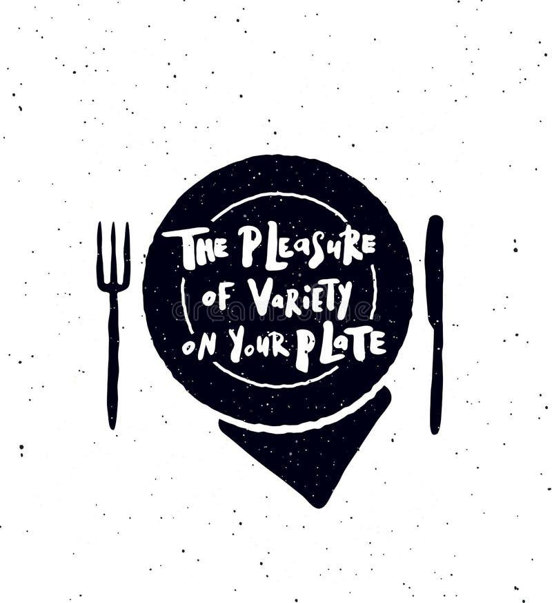 Przyjemność rozmaitość na twój talerzu ilustracji
