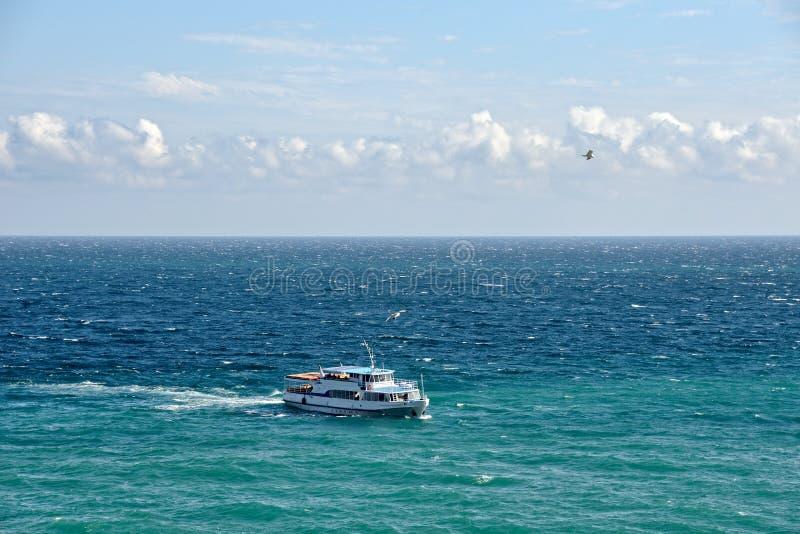 Przyjemno?ci ??d? i Seagulls w Gurzuf zatoce obrazy stock