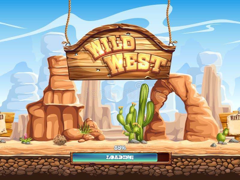Przykład ładowniczy ekran dla gra komputerowa Dzikiego zachodu ilustracji