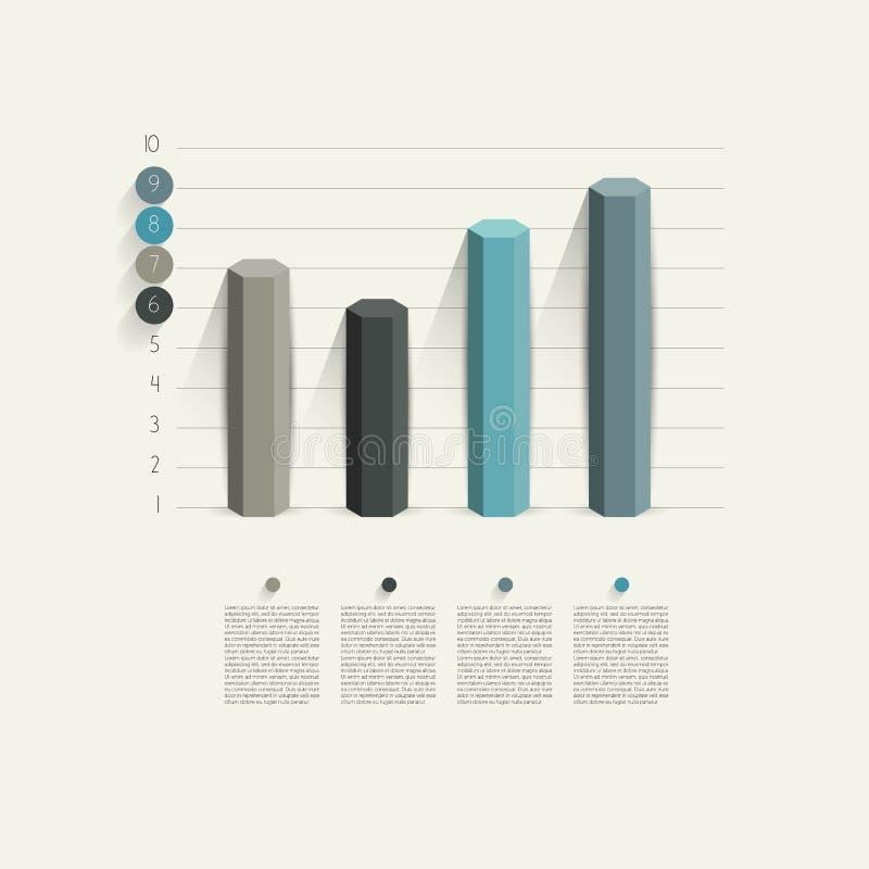 Przykład biznesowy heksagonalny szpaltowy projekta wykres. ilustracji