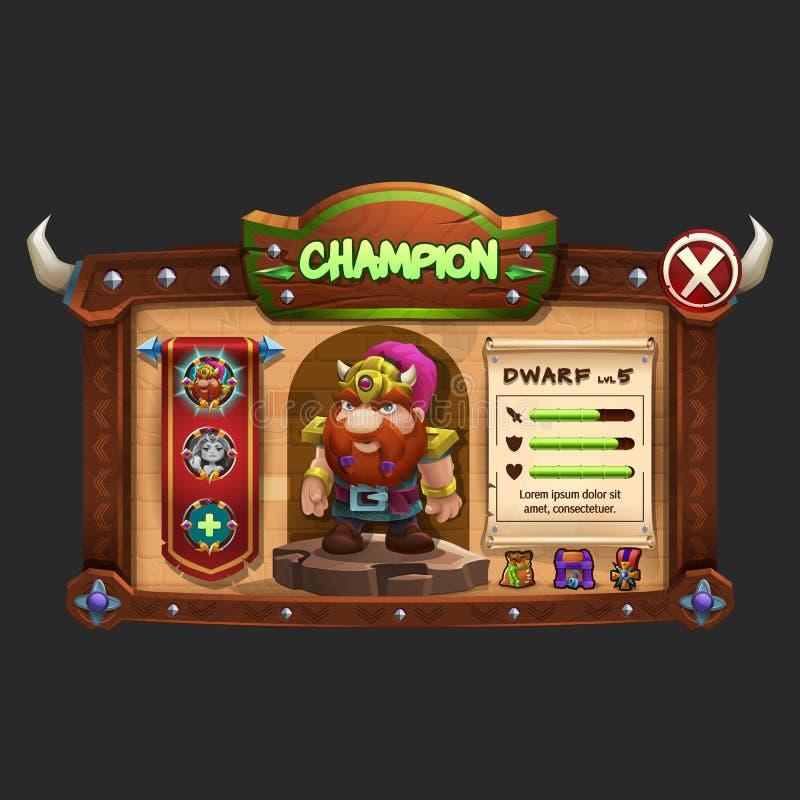 Przykład drewnianej deski interfejs użytkownika gra Okno mistrzowie dla wyborowego charakteru ilustracja wektor