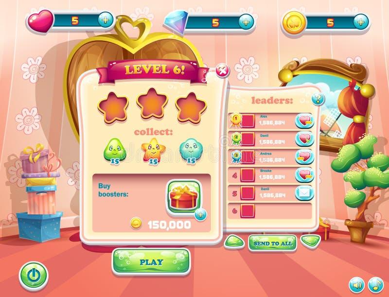 Przykład interfejs użytkownika ekranizuje początek nowy poziom gry komputerowe ilustracja wektor
