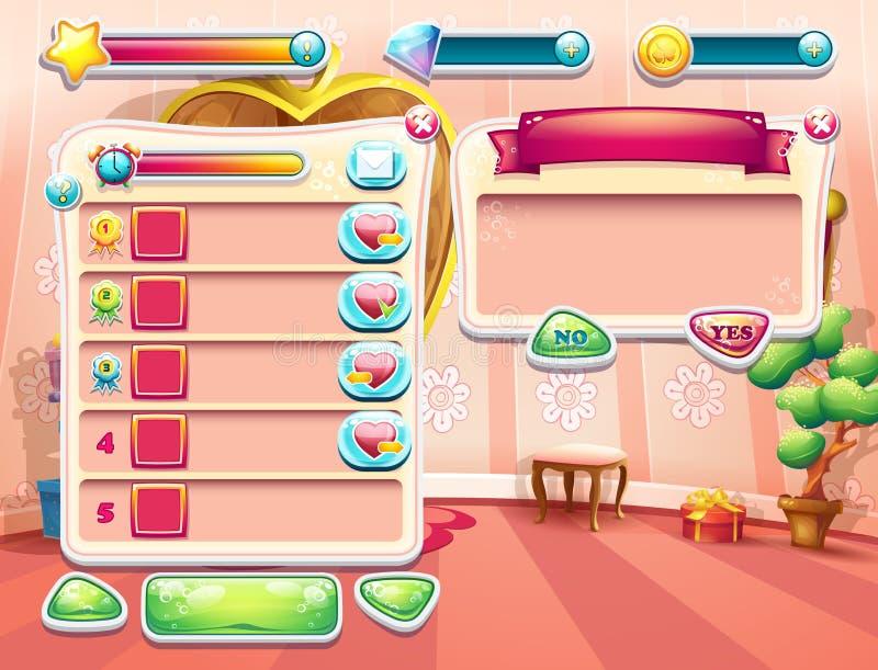 Przykład jeden ekrany gra komputerowa z ładowniczym tło sypialni princess, interfejsem użytkownika i różnorodnym eleme, ilustracja wektor