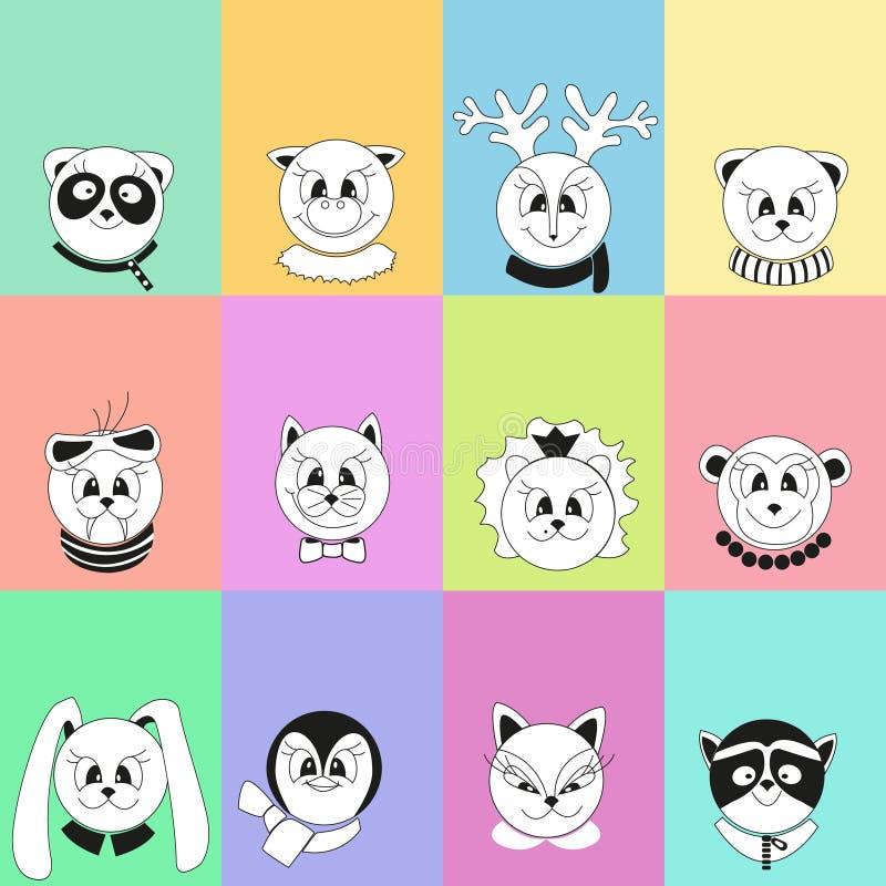 Przykład kalendarz z kreskówek zwierzętami Nowego Roku sztandar 2019 royalty ilustracja
