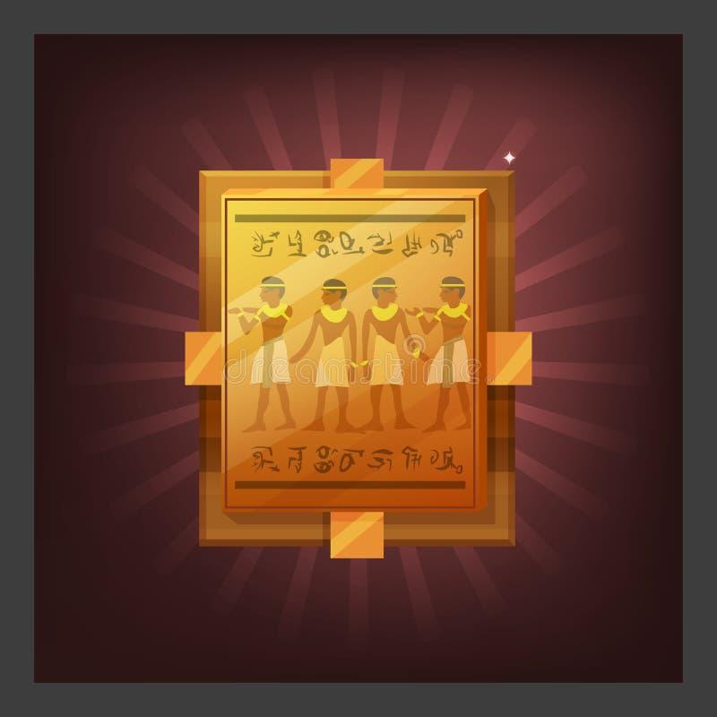 Przykład otrzymywać kreskówki osiągnięcia egipcjanina złotego talerza z malowidłem ściennym dla gra ekranu ilustracji