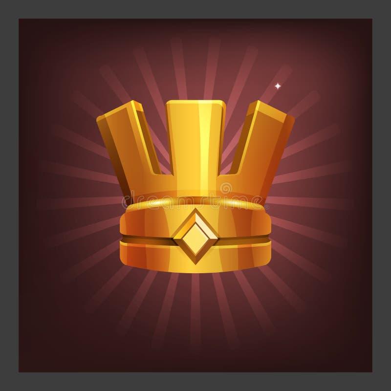 Przykład otrzymywać kreskówki złotego osiągnięcia antyczną koronę dla gra ekranu ilustracja wektor