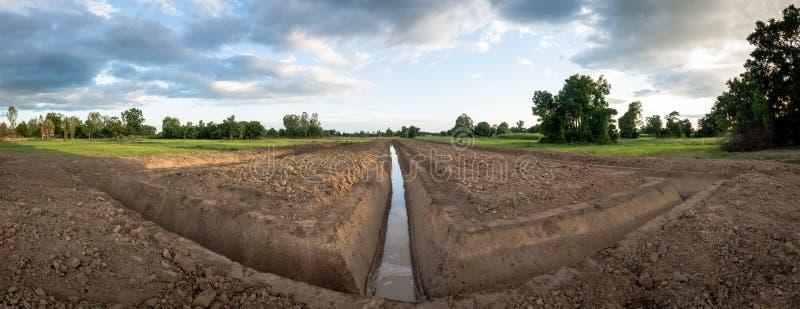Przykopu chwyta woda dla rolnictwa obraz royalty free