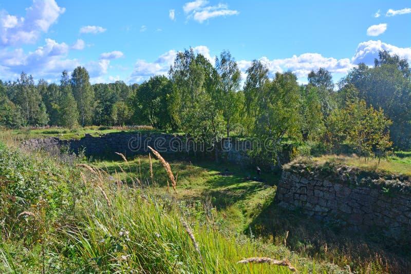 Przykopy kwatermistrz góra w Vyborg, Rosja obraz stock