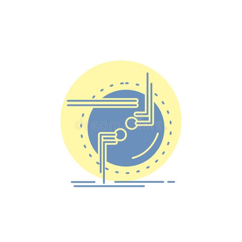 przykuwa, łączy, związek, połączenie, druciana glif ikona ilustracja wektor