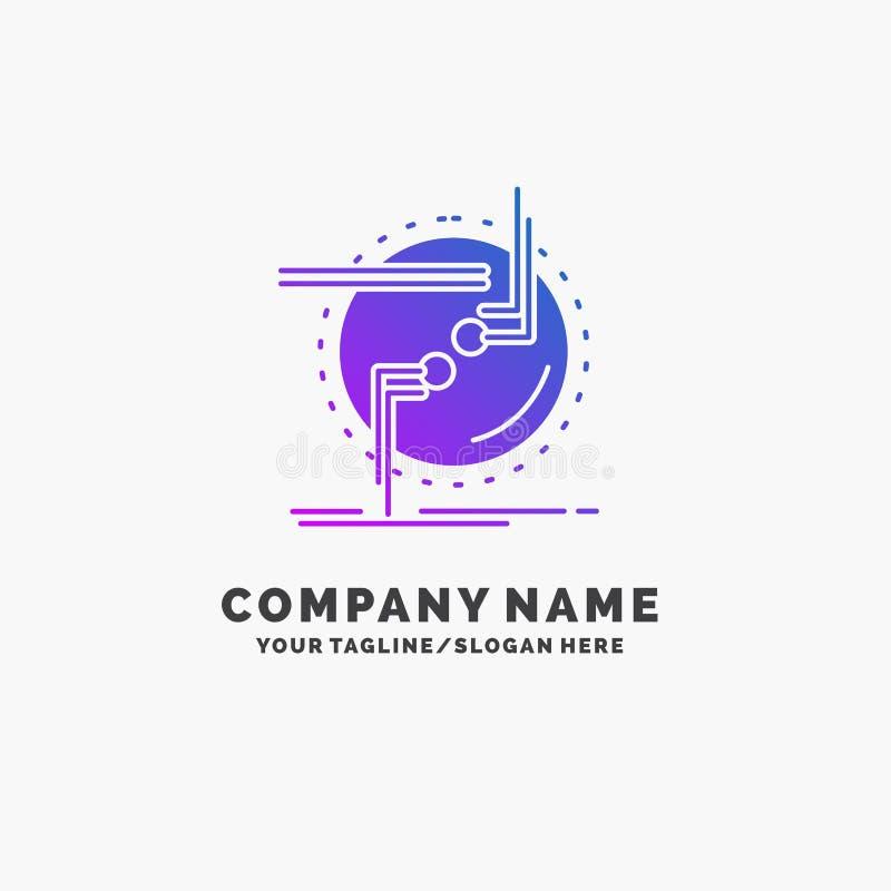 przykuwa, łączy, związek, połączenie, druciany Purpurowy Biznesowy logo szablon Miejsce dla Tagline ilustracja wektor