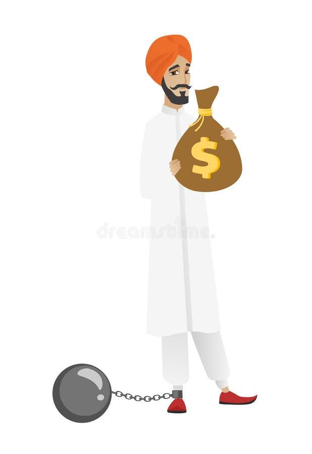 Przykuwający hinduski biznesmen z torbą podatki pełno royalty ilustracja