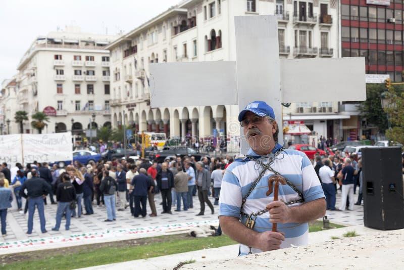 Przykuwam mężczyzna protestować zdjęcie royalty free