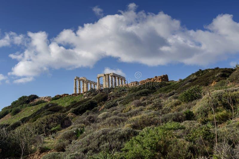 Przylądek Sounion i okres świątynia Poseidon Lavreotiki zarząd miasta, wschód Attica, Grecja obrazy royalty free