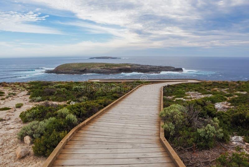 Przylądka Du Couedic boardwalk Flinders Gończy park narodowy, Kangaro fotografia stock