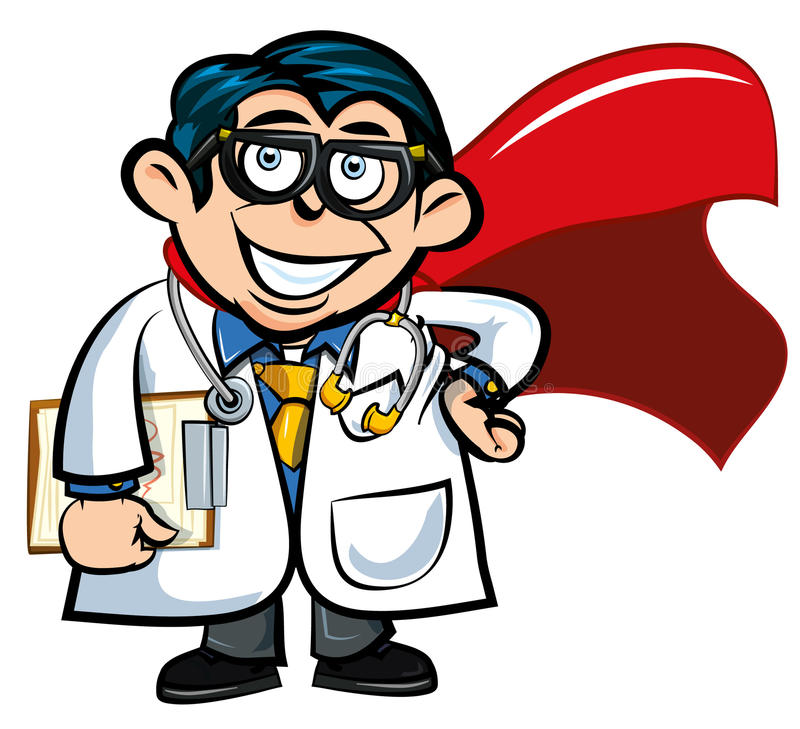 przylądka kreskówki lekarki bohater ilustracja wektor