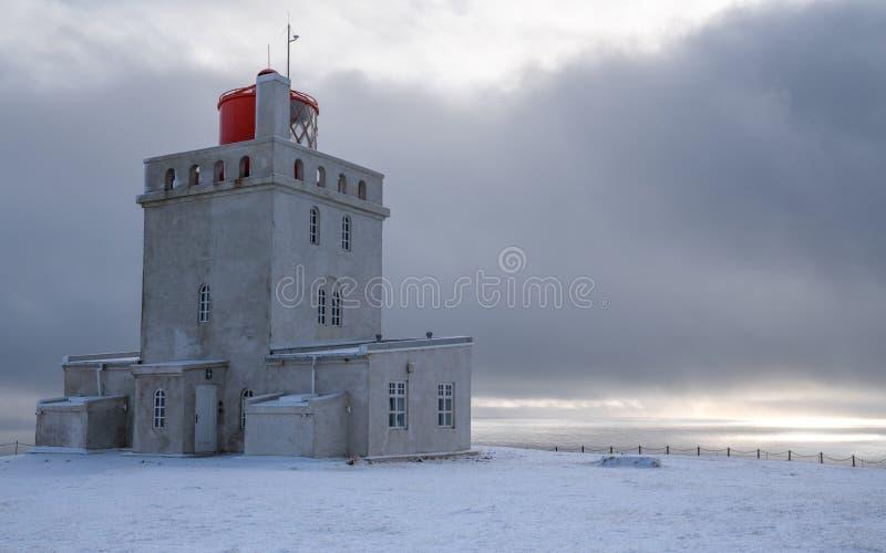 Przyl?dka Dyrholaey latarnia morska, Vik, Iceland obraz stock