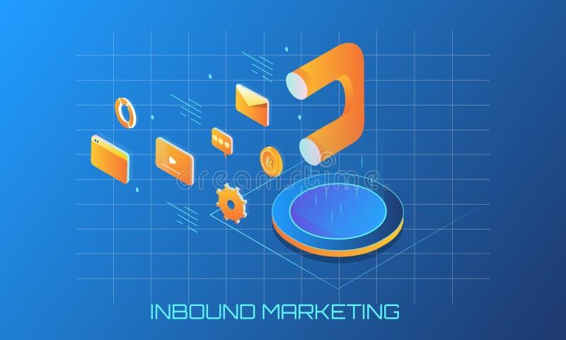 Przylatujący marketing, isometric projekt, wielki magnes jako marketingowy narzędzie, inni reklamowi elementy royalty ilustracja