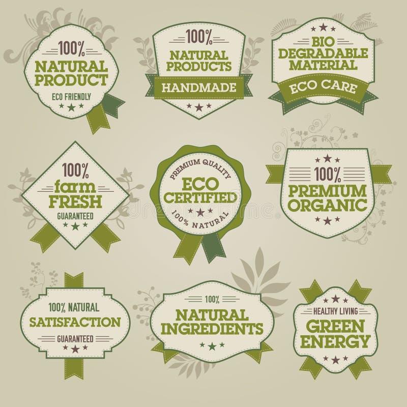 przylepiać etykietkę naturalnego set royalty ilustracja