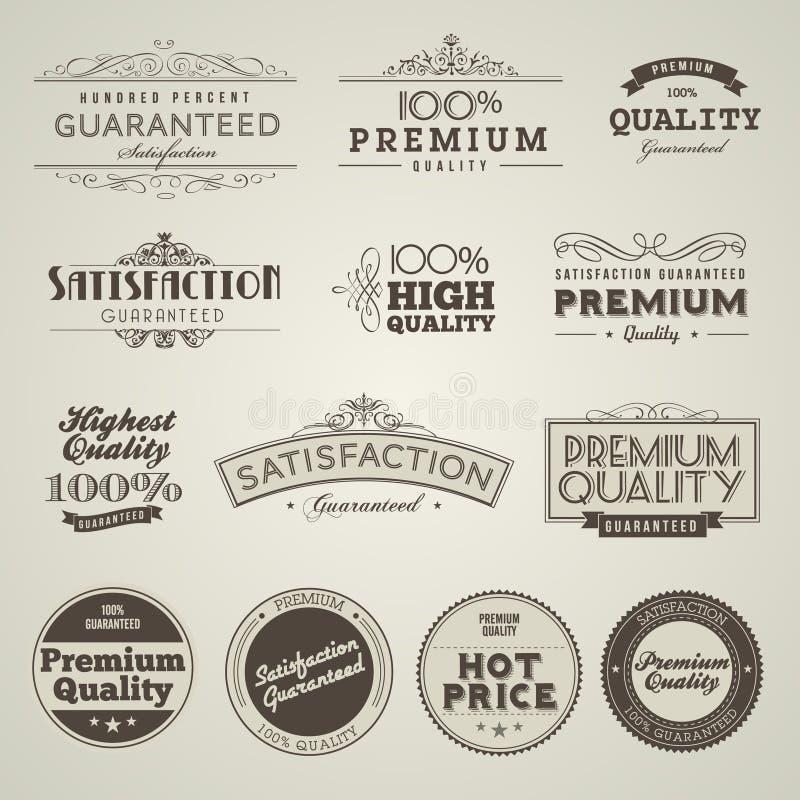 przylepiać etykietkę premii ilości set projektującego rocznika ilustracji