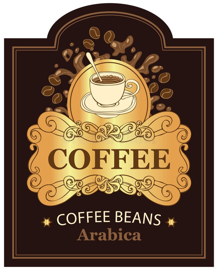 Przylepia etykietkę dla kawowych fasoli arabica z filiżanką i bryzga ilustracji