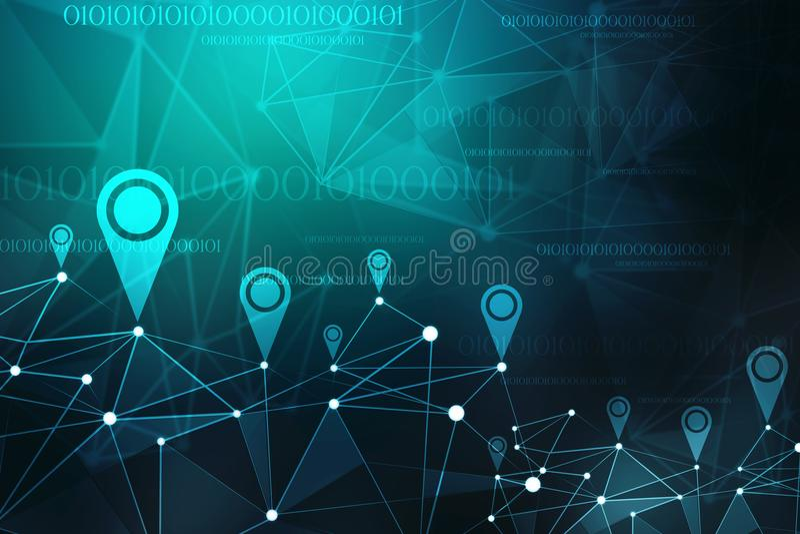 Przylepia etykietkę nawigaci sieci abstrakcję, Cyfrowej technologii Abstrakcjonistyczny tło świadczenia 3 d ilustracja wektor