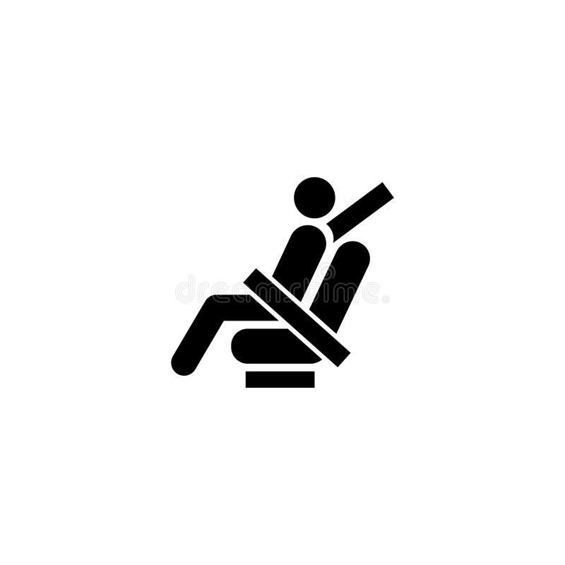 Przymocowywa pas bezpieczeństwa Płaską Wektorową ikonę ilustracja wektor