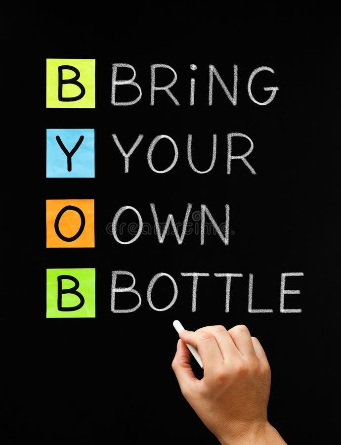 Przynosi Twój Swój butelkę obraz stock