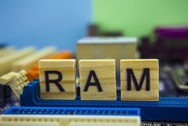 Przypadkowa Dojazdowa pamięć lub RAM słowo na drewnianych sześcianach z technologii tłem Listy na drewnianych sześcianach zdjęcia stock