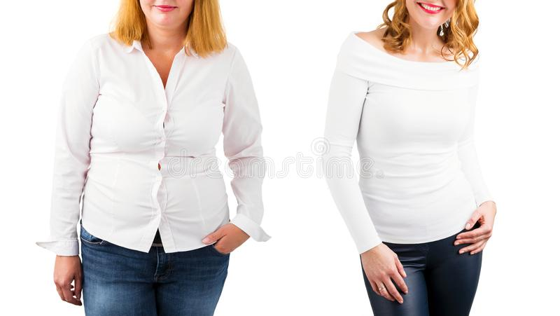 Przypadkowa kobieta przed i po ciężar stratą, odizolowywającą na bielu obraz royalty free