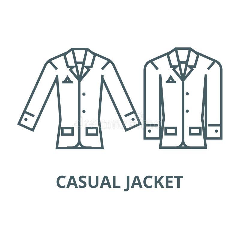 Przypadkowa kurtki linii ikona, wektor Przypadkowy kurtka konturu znak, pojęcie symbol, płaska ilustracja ilustracji