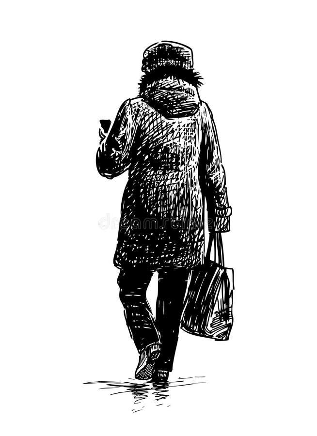 Przypadkowa miastowa kobieta iść robić zakupy ilustracja wektor