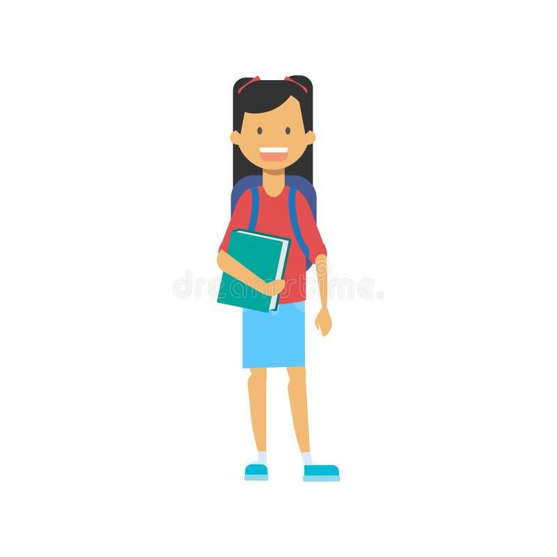 Przypadkowa uczennica z plecakiem i copybook, szczęśliwy szkolny uczeń folowaliśmy długości avatar na białym tle, pomyślnym ilustracja wektor