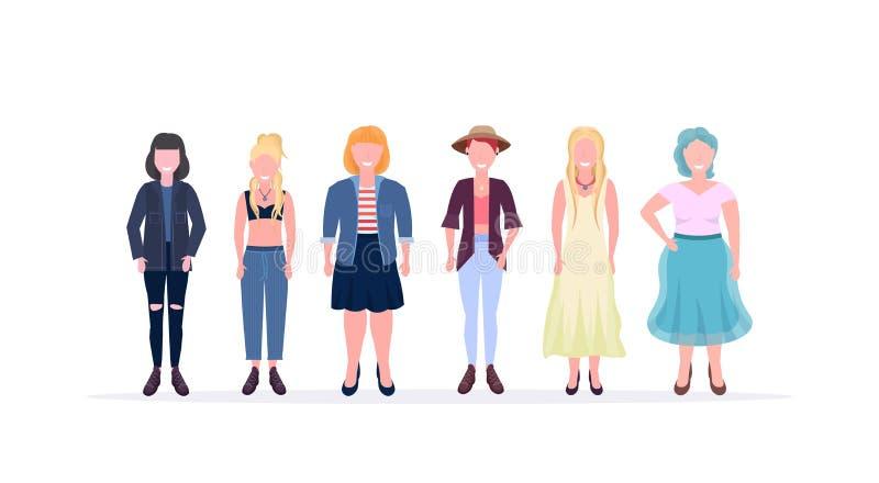 Przypadkowe kobiety stoi wpólnie uśmiechać się różne ciało kształta typów i fryzur dziewczyn żeńskie postacie z kreskà ilustracja wektor