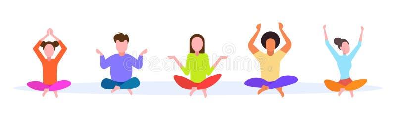 Przypadkowe mężczyzna kobiety siedzi lotosowych pozy grupowy robi joga młodzi ludzie ćwiczą medytacji pojęcia żeńską męską kreskó royalty ilustracja