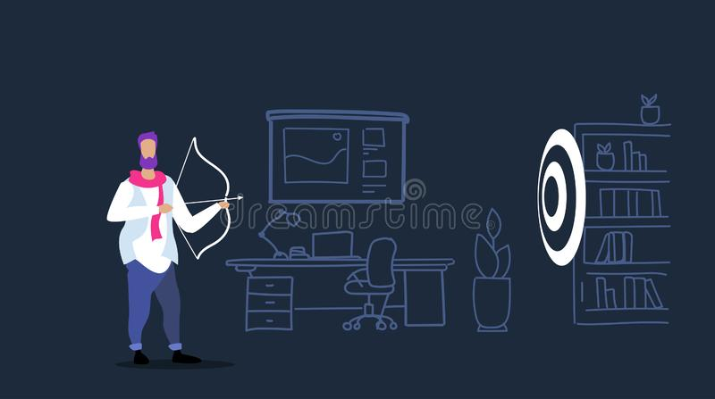 Przypadkowego biznesmen łuczniczki ciupnięcia celu biznesowego celu osiągnięcia strzałkowatego pojęcia strategii nakreślenia pomy ilustracja wektor