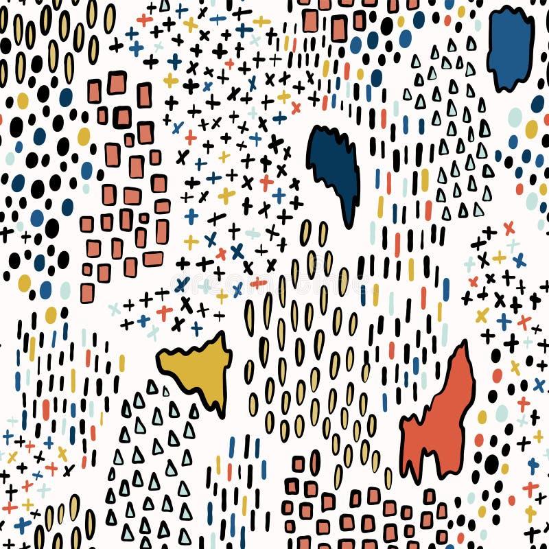 Przypadkowego kształta Geo wektoru wzoru Jaskrawi kolory ilustracja wektor