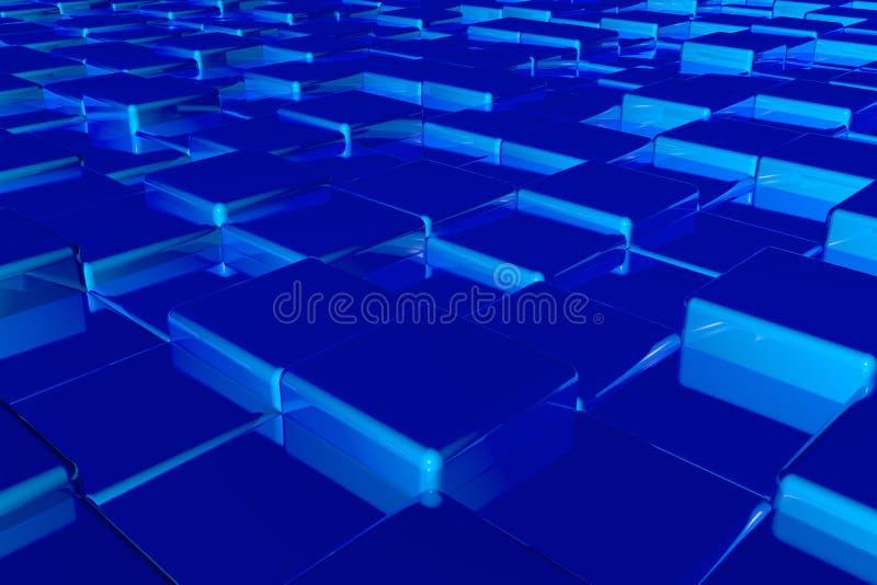 Przypadkowego wzrosta glansowani sześciany 3d odpłaca się kolorowego jaskrawego tło wizerunek zdjęcia stock