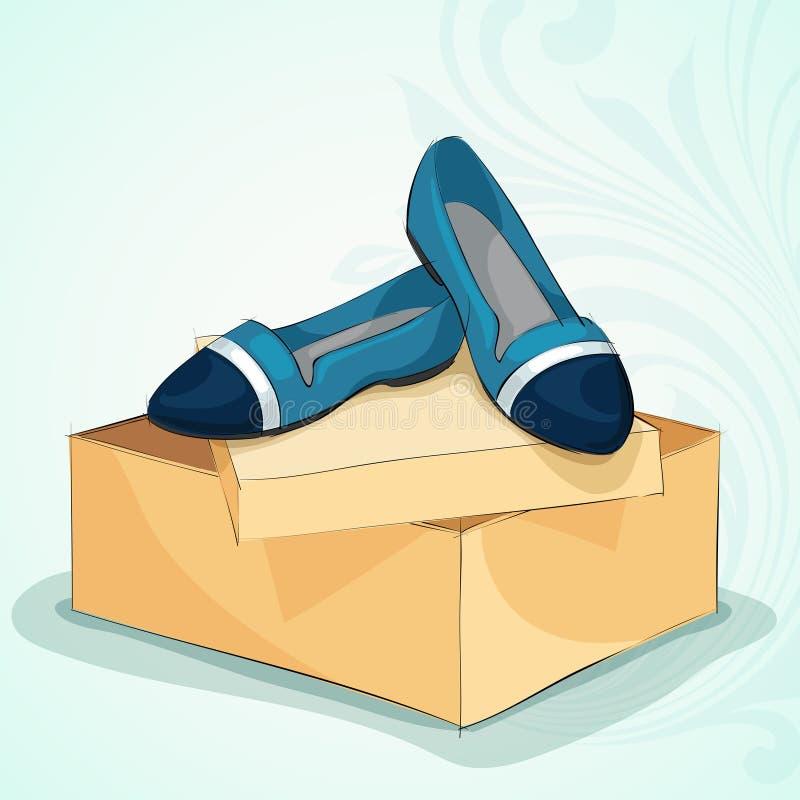 Przypadkowej kobiety błękitni baletniczy mieszkania ilustracja wektor