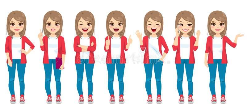 Przypadkowej moda nastolatka dziewczyny Różni gesty royalty ilustracja