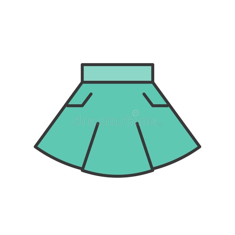 Przypadkowej odzieży mini spódnica, wypełniający koloru konturu editable uderzenie ilustracja wektor