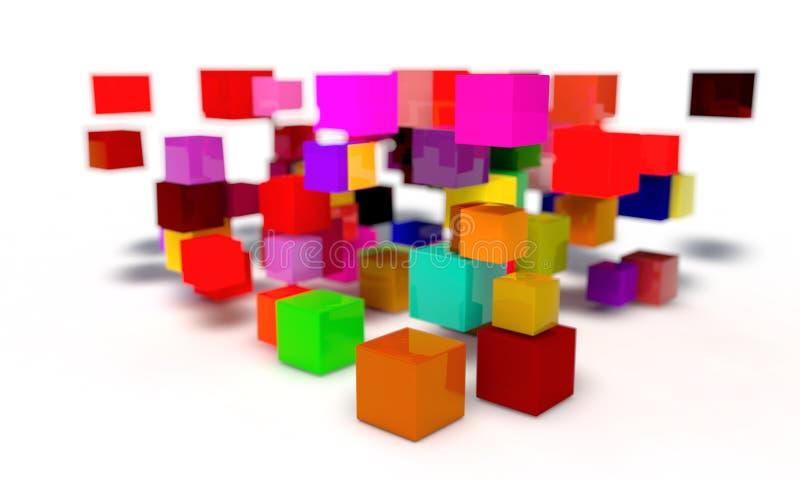 Przypadkowi barwioni sześciany tło, 3d royalty ilustracja