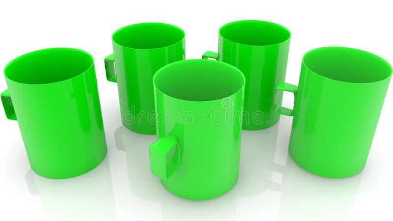 Przypadkowo pięć zieleni pustych filiżanek ilustracja wektor