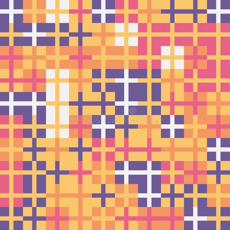 Przypadkowy barwiony abstrakcjonistyczny geometryczny krzyż mozaiki wzoru tło ilustracja wektor