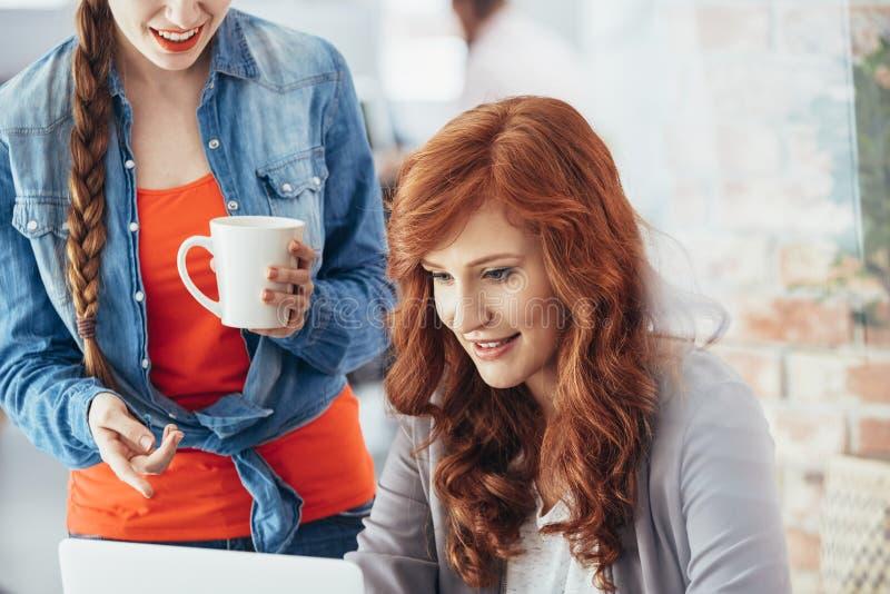 Przypadkowy bizneswoman używa laptop zdjęcie stock